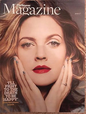 UK Observer Magazine January 2017 DREW BARRYMORE interview DONALD SUTHERLAND