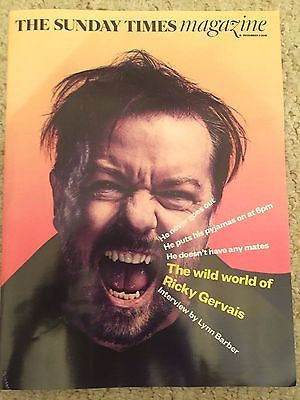 UK SUNDAY TIMES MAGAZINE DEC 2016 - RICKY GERVAIS INTERVIEW - JOELY RICHARDSON