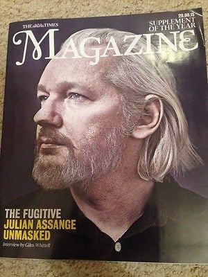 JULIAN ASSANGE UNMASKED PHOTO COVER TIMES MAGAZINE AUGUST 2015 NEW