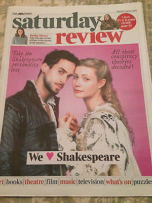 TIMES SATURDAY REVIEW APRIL 2016 JOSEPH FIENNES KEELEY HAWES WILLIAM SHAKESPEARE
