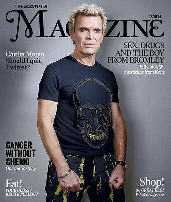 BILLY IDOL UK PHOTO COVER INTERVIEW TIMES MAGAZINE OCTOBER 18 2014