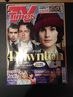 DOWNTON ABBEY TV TIMES SEPTEMBER 2014 MICHELLE DOCKERY TOM CULLEN JULIAN OVENDEN