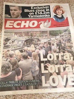 UK Cilla Black Liverpool Echo Newspaper Funeral Tribute Cliff Richard 1943-2015