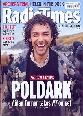 Poldark AIDAN TURNER Photo Cover Interview Radio Times UK magazine Sept 3 2016