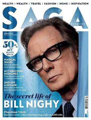 UK SAGA MAGAZINE APRIL 2017 BILL NIGHY PHOTO COVER INTERVIEW