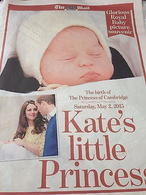 (UK) PRINCESS CHARLOTTE ROYAL BABY PICTURE SOUVENIR THE MAIL & EXPRESS POSTER