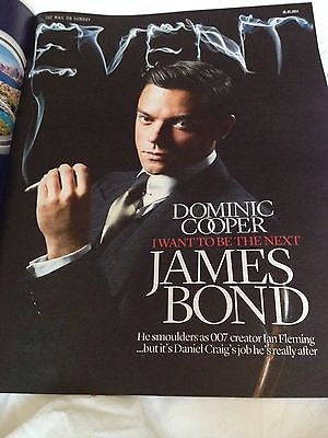 NEW UK !! DOMINIC COOPER interview JAMES BOND IAN FLEMING EVENT Magazine cover *