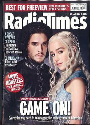RADIO TIMES MAGAZINE APRIL 2015 KIT HARINGTON EMILIA CLARKE GAME OF THRONES