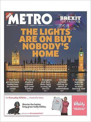 Brexit Memorabilia Metro Newspaper 27 June 2016 - 'The Fallout' Tom Hiddleston