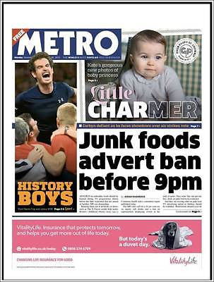 (UK) METRO NEWSPAPER 11/30/15 PRINCESS CHARLOTTE PHOTO COVER SPECIAL DURAN DURAN