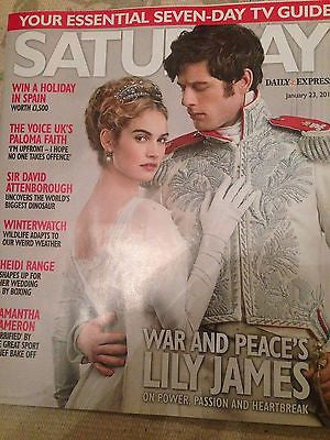 War & Peace LILY JAMES Photo Cover interview UK SATURDAY MAGAZINE JANUARY 2016