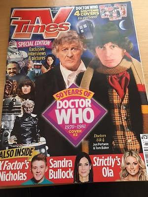 DR WHO AT 50 - Jon Pertwee & Tom Baker Cover TV Times UK magazine November 2013