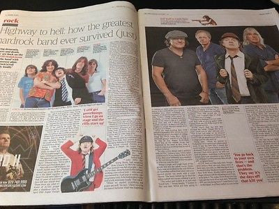 AC/DC BRIAN JOHNSON STEVIE YOUNG ANGUS CLIFF WILLIAMS PHOTO INTERVIEW JULY 2015