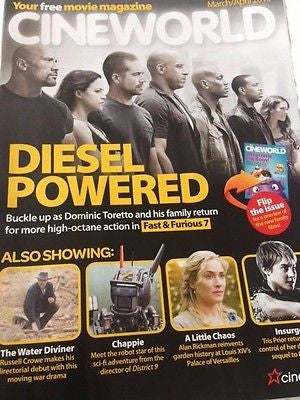 PAUL WALKER Vin Diesel ALAN RICKMAN Theo James UK Cineworld Magazine 03/2015