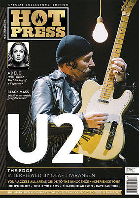 Songs of Innocence U2 EDGE PHOTO COVER interview HOT PRESS MAGAZINE NOV 2015