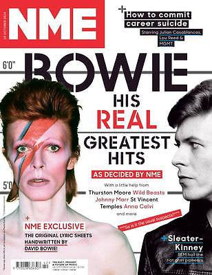 DAVID BOWIE PHOTO COVER HIS REAL GREATEST HITS NEW NME MAGAZINE OCTOBER 2014