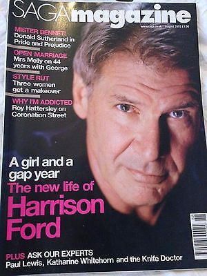 SAGA magazine 2005 HARRISON FORD PHOTO INTERVIEW GEORGE MELLY DONALD SUTHERLAND