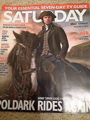 (UK) SATURDAY MAGAZINE SEPTEMBER 2016 AIDAN TURNER Poldark PHOTO COVER INTERVIEW