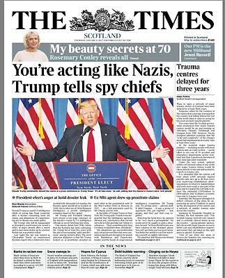 THE TIMES - UK NEWSPAPER - President Elect DONALD TRUMP 12 January 2017