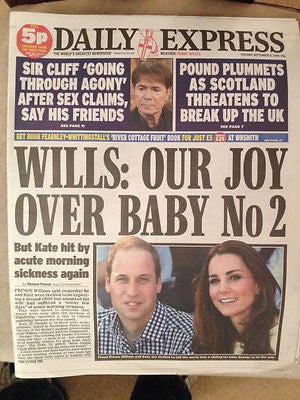 Daily Express Newspaper 22 July 2014 Kate Middleton 2nd Pregnancy Photo Cover