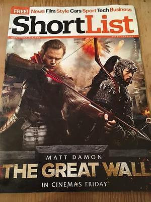 Shortlist Magazine February 2017 Ricky Wilson Kaiser Chiefs Matt Damon Sam Riley