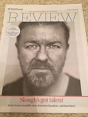 UK TELEGRAPH REVIEW AUG 2016 RICKY GERVAIS Pedro Almodovar Elvis Presley
