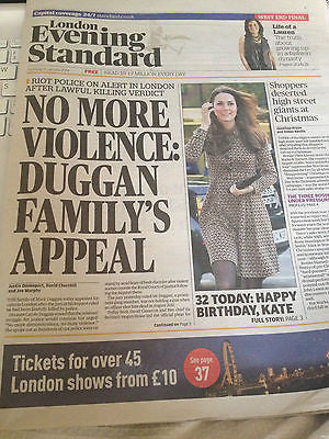 London Evening Standard Newspaper - Jan 9 2014 - Kate Middleton Nathaniel Parker