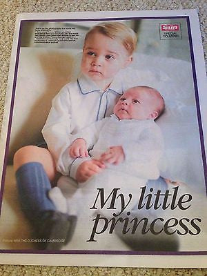 (UK) THE SUN 6/7/15 ROYAL BABY PRINCESS CHARLOTTE PRINCE GEORGE PHOTO SOUVENIR