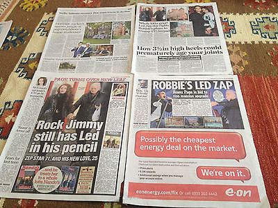 Jimmy Page Led Zeppelin Robbie Williams Newspaper Clippings Cuttings Jan 2015