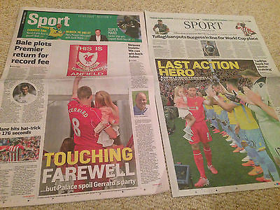 Sunday Telegraph & Times 17 May 2015 FAREWELL TO A LEGEND STEVEN GERRARD SPECIAL