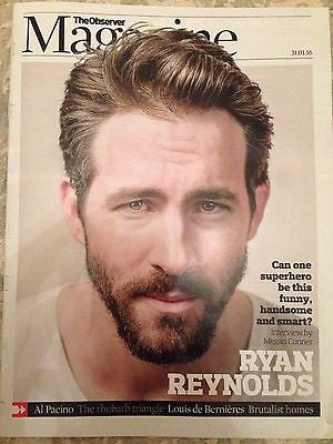 Deadpool RYAN REYNOLDS PHOTO COVER INTERVIEW UK OBSERVER MAGAZINE JANUARY 2016