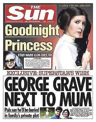 CARRIE FISHER - Star Wars George Michael The SUN Newspaper 28th Dec 2016