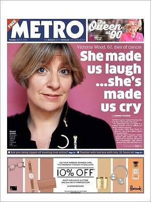 Victoria Wood Death Special Metro Newspaper 21 April 2016