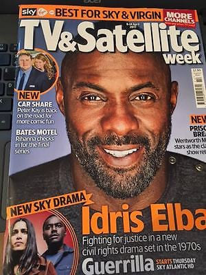 IDRIS ELBA PHOTO COVER UK TV & SATELLITE MAGAZINE April 2017 - Wentworth Miller