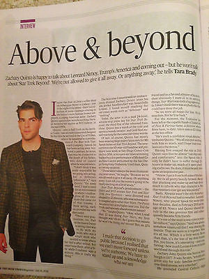 STAR TREK BEYOND Zachary Quinto Irish Photo InterviewTimes Magazine July 2016