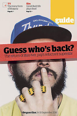 BON IVER PHOTO UK COVER INTERVIEW GUIDE MAGAZINE SEPTEMBER 2016 NEW