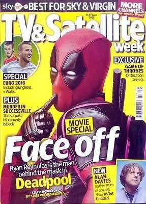 DEADPOOL UK TV & Satellite Magazine June 2016 MARVEL Ryan Reynolds