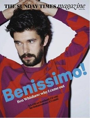 BEN WHISHAW PHOTO COVER SUNDAY TIMES MAGAZINE AUGUST 2014 REVEALING INTERVIEW