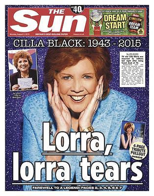 UK Cilla Black The SUN Newspaper Tribute Clippings The Beatles Cliff Richard