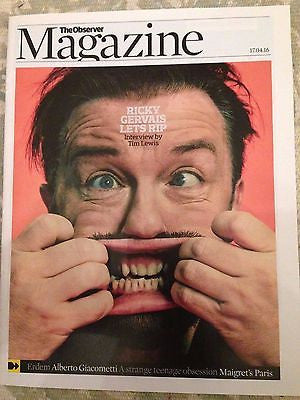 (UK) OBSERVER MAGAZINE APRIL 2016 RICKY GERVAIS PHOTO COVER INTERVIEW ERDEM