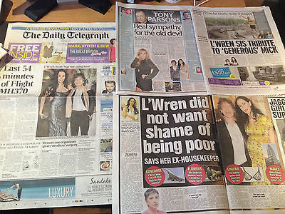 Mick Jagger Rolling Stones L'Wren Scott Tragic News Newspaper Clippings Cuttings