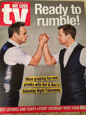 WE LOVE TV Magazine 02/2016 ANT & DEC Tom Hiddleston HUGH LAURIE Russell Tovey