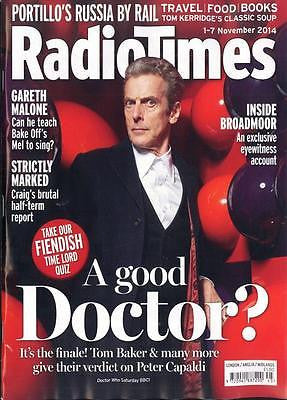 Dr Who PETER CAPALDI PHOTO COVER INTERVIEW RADIO TIMES MAGAZINE NOVEMBER 1 2014