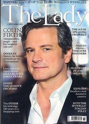 COLIN FIRTH MR DARCY PHOTO COVER INTERVIEW THE LADY MAGAZINE SEPTEMBER 2014