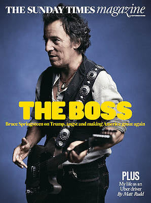 BRUCE SPRINGSTEEN Photo Cover Interview Sunday Times Magazine September 2016 NEW