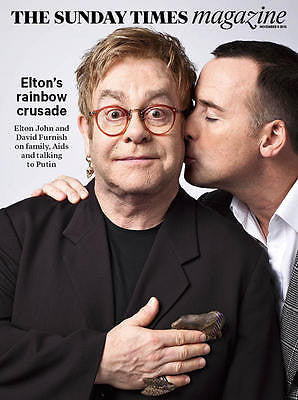 UK) SUNDAY TIMES MAGAZINE NOVEMBER 2015 ELTON JOHN DAVID FURNISH PHOTO INTERVIEW