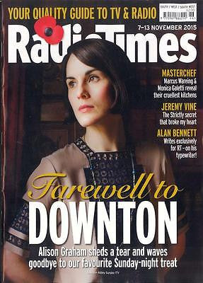 RADIO TIMES MAGAZINE NOVEMBER 2015 DOWNTON ABBEY FINALE BEN WHISHAW SEAN BEAN