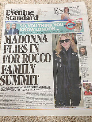 MADONNA ON ROCCO PHOTO COVER LONDON EVENING STANDARD NEWSPAPER 7 APRIL 2016