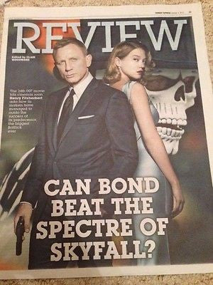 (UK) SUNDAY EXPRESS REVIEW OCT 2015 JAMES BOND SPECTRE DANIEL CRAIG LEA SEYDOUX