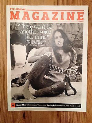JOAN BAEZ PHOTO UK COVER INTERVIEW OBSERVER MAGAZINE AUGUST 2014